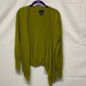 Olive green 100% cashmere cardigan